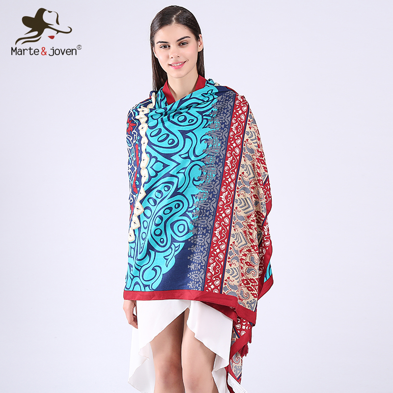 Marte&Joven New <font><b>190*90</b></font> cm Long Travel Cape Retro Ethnic Style Geometric Floral Print Soft Scarf and shawl for Women image