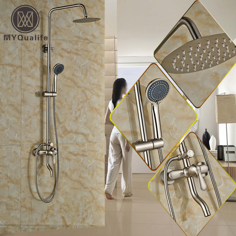 Nickel Brushed In-wall Rainfall Shower Faucet Set Single Handle Exposed Outdoor Shower Mixer Bath Shower Faucet майка борцовка print bar багровый пик