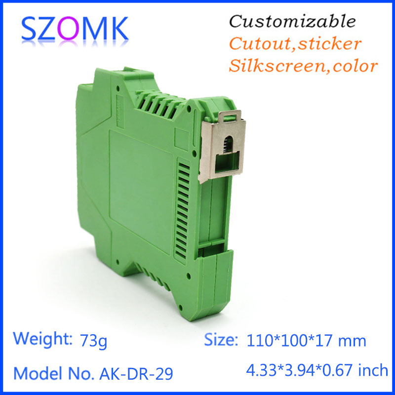good quality housing electronics green color plastic din rail case 80*70*MM 4 psc a lot electronic din rail box electronic din rail box 1 psc free shipping din rail box case plastic enclosures abs junction housing electronics housing