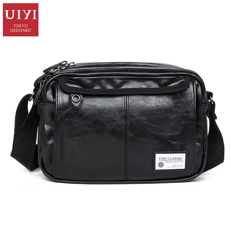 UIYI New Men's Leather Messenger Bags Multifunctional Men Black Casual Bag Quality Male Shoulder Crossbody Bag Canvas Handbag kevin black red white leather strap women watches modern quartz ladies watch fashion simple arabic numerals dial clock 2018 new