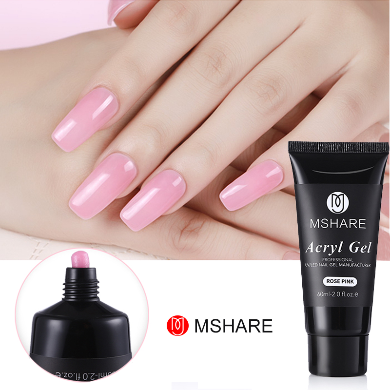 mshare 60ml professional acryl gel pink white transparent uv gel builder nail color gel acrylic. Black Bedroom Furniture Sets. Home Design Ideas