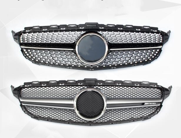 Diamond Style Front Mesh Racing Grill Grille for Mercedes-Benz W205 New C-class C200 C220d C250 C260 C400 c180 C450 ,1pcs pp class front car mesh grill sport style fit for benz w203 c 2000 2006
