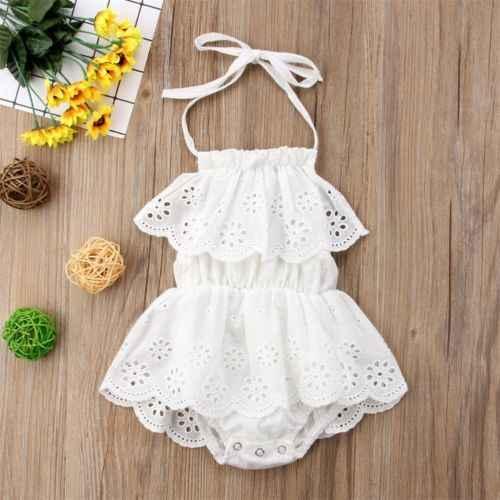 7f2b42e37477 ... 2018 New Summer Kids Girls White Lace Romper Dress Halter Sleeveless Newborn  Infant Baby Girl Bodysuit
