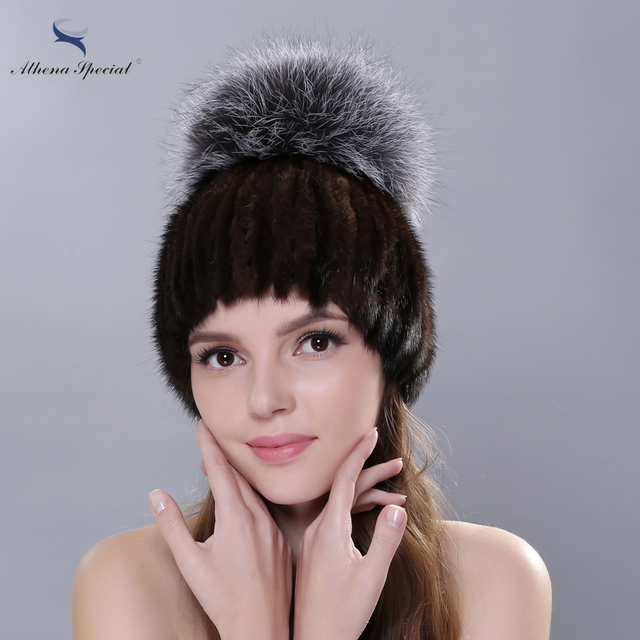 Athena Special 2016 Winter Russia Women Fur Cap Knitted Mink Fur Hat With Genuine Silver Fox Fur Real Fur Mink Beanies Hat