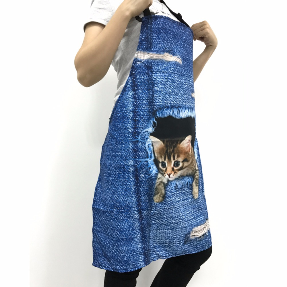 FORUDESIGNS Kitchen Apron Skull Floral Print Woman Men Chef Cooking Aprons Funny Retro Punk Skull Sleeveless Apron For BBQ