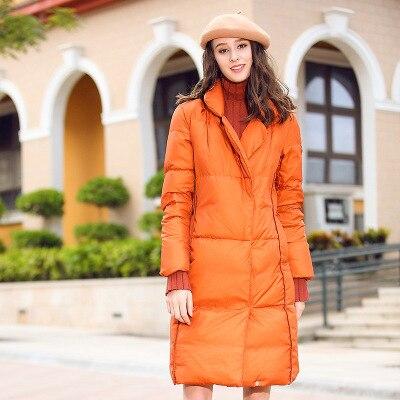 Новинка, Однотонный женский пуховик, Женское зимнее длинное пальто, наполнитель белого утиного пуха, женские парки с длинным рукавом, зимня