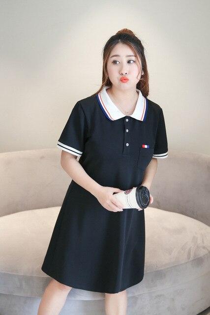Baharcelin 4xl Big Plus Size Solid Color Polo Casual Dresses De