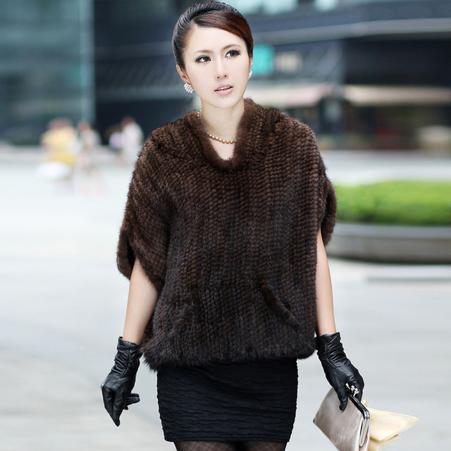 2016 Winter Women's Natural Real Knitted Mink Fur Coat Jacket Hooded Women Fur Outerwear Coats Bat Sleeve Garment
