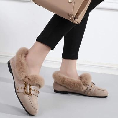 Paresseux Laine Femmes Plus Velours Plat Chaussures 2 1 Haricots D'hiver De Sociaux YY6fCqw