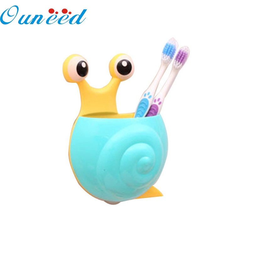 2017 Economic hot sale Cute Cartoon Sucker Hook Toothbrush Holder Snail Bathroom Set B