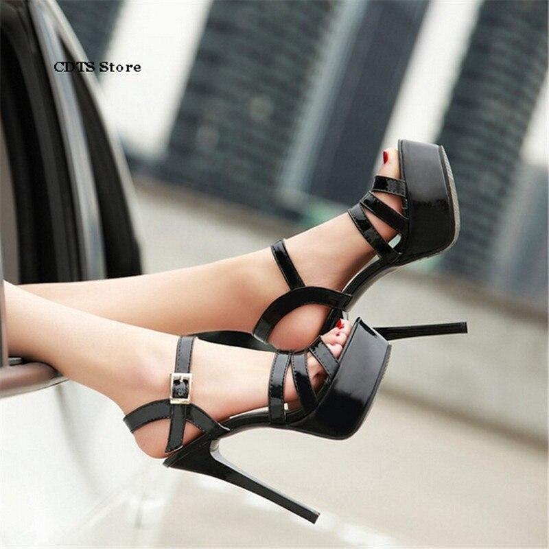 c7271a8ad Cdts زائد: 34-43 الصيف براءة 14 سنتيمتر الأزياء مثير منصة عالية الكعب  الصنادل اللباس الرسمي أحذية الزفاف مشبك مضخات