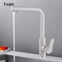 Kitchen Faucet Deck Mount Sink Mixer Tap 360 Degree Rotation with Water Purification Featu