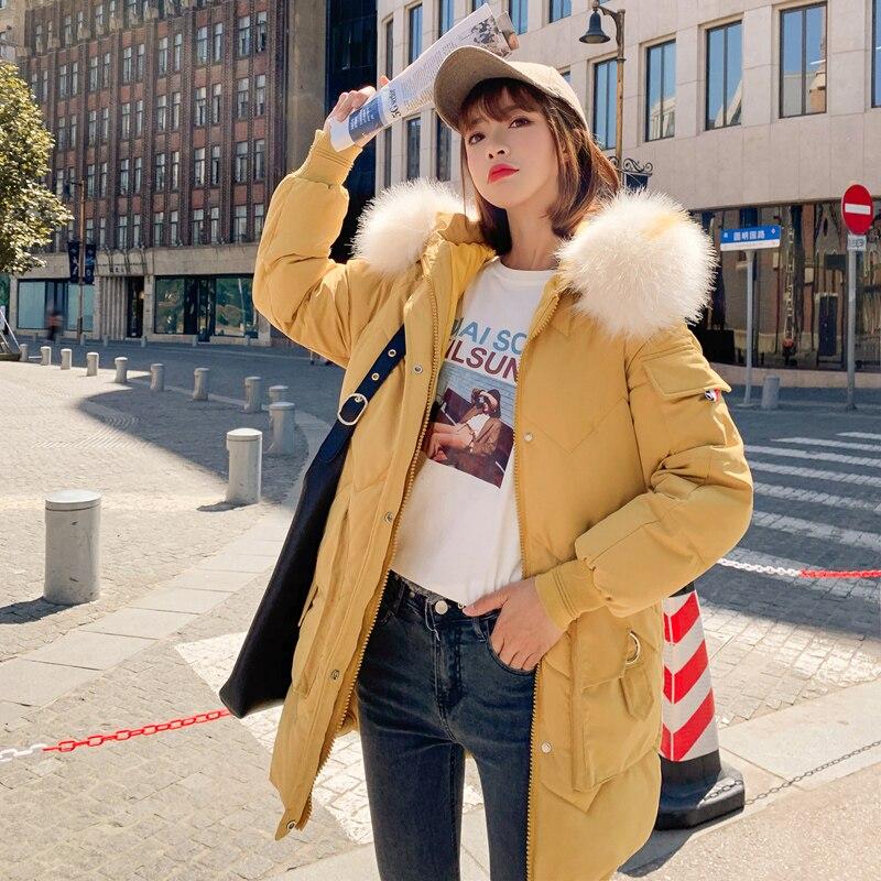 Femme épaississement chaud manteau de neige mode Zipper à capuche fausse fourrure col jaune hiver femmes Parkas hiver veste de survêtement manteau