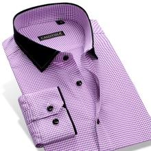 CAIZIYIJIA 2017 männer Stilvolle Checkered Plaid mit Patchwork Kragen Langarm Slim fit Baumwolle Taste Unten Casual Shirts