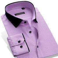 Hommes Élégant Manches Longues À Carreaux Plaid Robe Chemise avec Patchwork de Col Smart Casual Slim-fit Pur Coton Bouton vers le bas Chemises