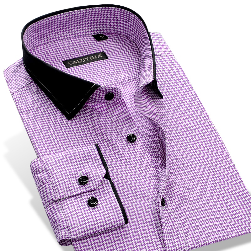 Men's Stylish Long Sleeve Checkered Plaid Dress Shirt With Patchwork Collar Smart Casual Slim-fit Pure Cotton Button Down Shirts