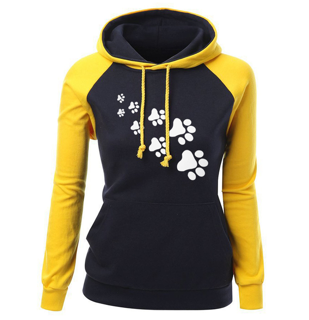 2018 Autumn Winter Fleece Women's Sportswear Harajuku Print CAT PAWS Cartoon Kawaii K-pop Clothing Streetwear Hoodies Sweatshirt