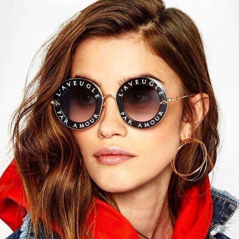 REALSTAR 2018 Fashion Bee Sunglasses for Women Brand Designer Luxury Round Sun Glasses Female Vintage Letter Eyewear Oculos S343