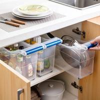 Transparent plastic storage box pulley kitchen finishing box large toy box storage basket