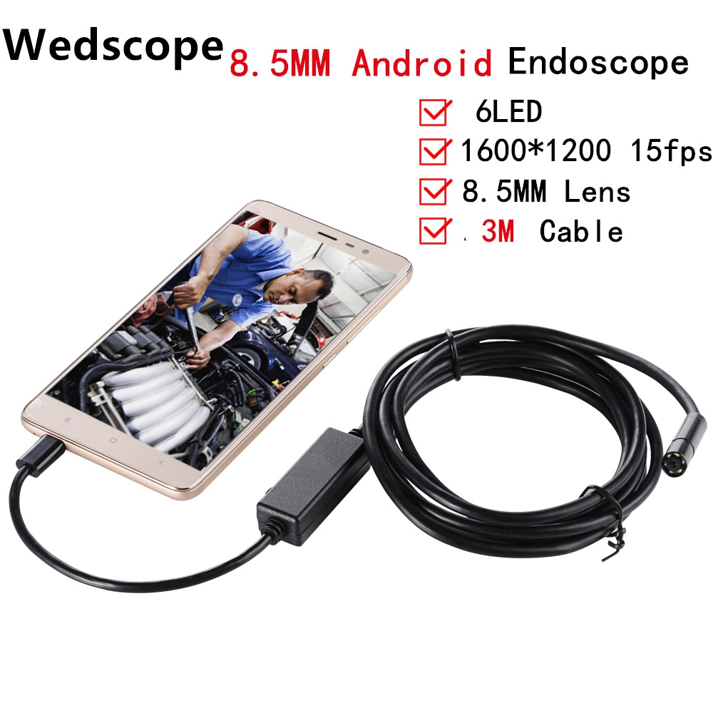 USB Endoscope 2 Million Pixels Cmos 3.5m Tube 8.5MM Lens Waterproof HD 6LEDs Borescope Inspection Tube Visual Camera Android OTG