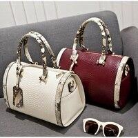 Snake Skin Boston Bag Women Pillow Handbag Ladies Serpentine Embossed PU Leather Design Messenger Shoulder Bags