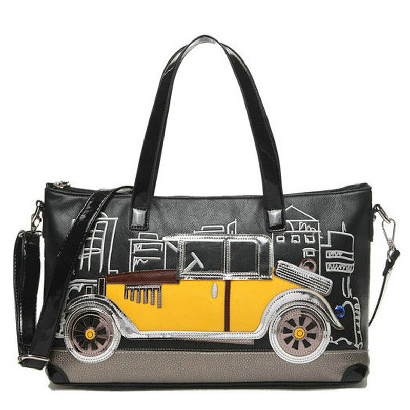 ФОТО 2017 NEW PU funny cartoon handbag handmade women's bag with lace and beading ladies elegant commute tote crossbody bag