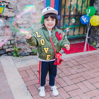 Spring autumn baby coat boys bomber jackets kids brand children blazer outerwear letter love embroidery tops 1 11Y ws135