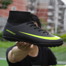 Men Football Boots Soccer Cleats Long Spikes TF Ankle High Top Sneakers Soft Indoor Turf Futsal soccer Shoes