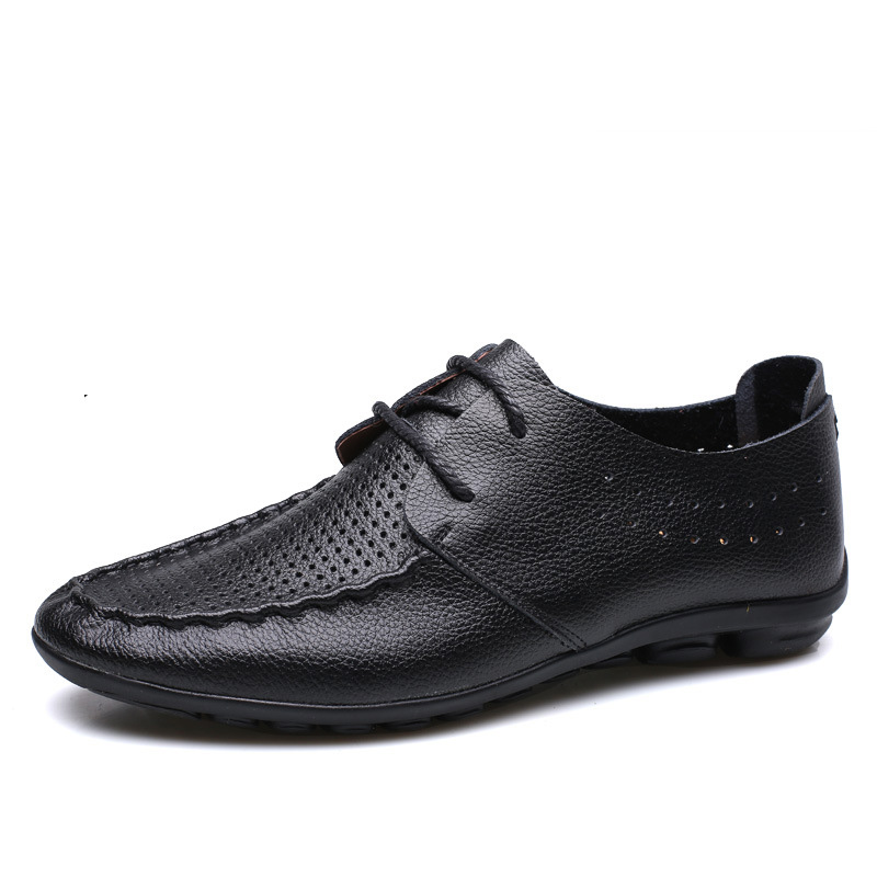 Men Casual Shoes Lace Up Soft Black Blue Loafers Male Summer Breathable Hole Fashion Shoes Men's Cow Leather Shoes Large Size top brand high quality genuine leather casual men shoes cow suede comfortable loafers soft breathable shoes men flats warm