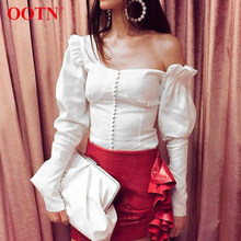 6efaed82ce3c45 OOTN One Shoulder Asymmetrical White Blouse Tops Women Sexy Puff Sleeve  Shirts Tops Female Ruffle Autumn Tunic Blouse Casual