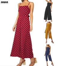 SHUJIN 2019 Women's Summer Jumpsuit Sexy Dots Jumpsuit Sleeveless Playsuit Wide Leg New Fashion Casual Sling Female Playsuit