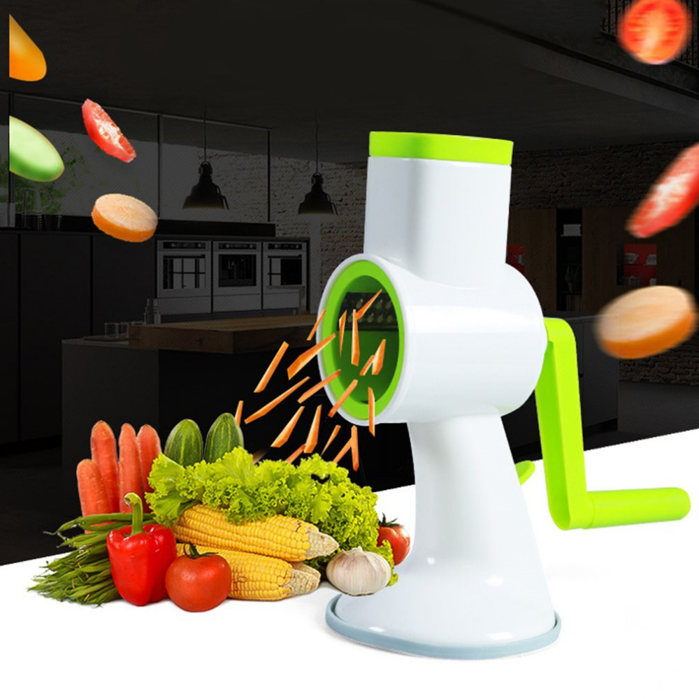 Round Vegetable Cutter Chopper Potato Carrot Grater Slicer with Stainless Steel Blades Kitchen Cutter Hand Push Rotary Shredder lomon серебристый цвет