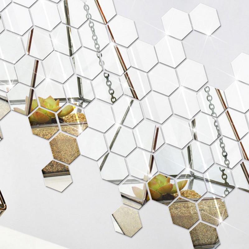 12Pcs 3D Mirror Hexagon Vinyl Removable Wall Sticker Decal Home Decor Art DIY Hot Sale