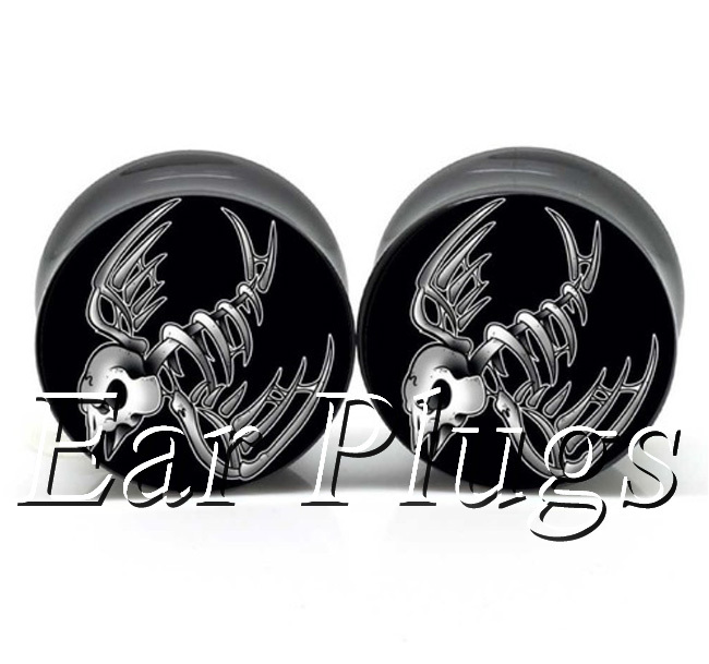 1 pair plugs acrylic piercing stay gold swallow skull saddle ear plug gauges tunnel body piercing jewelry PSP0011