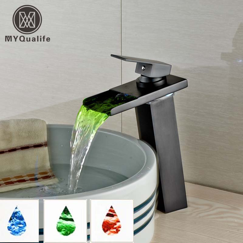 Oil Rubbed Bronze LED Light Waterfall Bathroom Countertop Basin Mixer Faucet Deck Mounted Color Changing Faucet