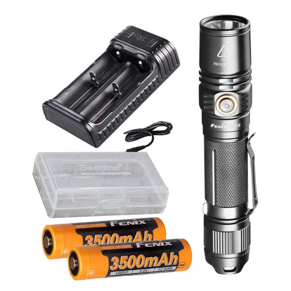 Fenix PD35 V2.0 2018 Upgrade 1000 Lumen Flashlight with 2X 3500mAh Battery,are-X2 Charger,battery case replacement 3 7v 3500mah battery pack with back case for lg optimus 2x p990 p993