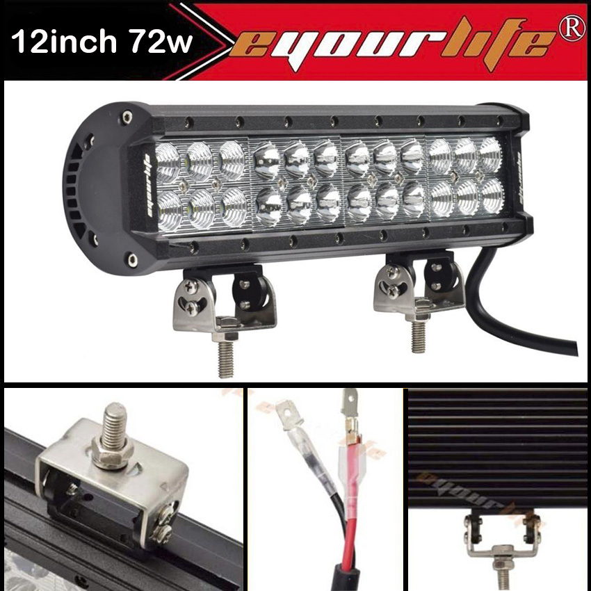 Eyourlife 12 inch led light bar off road driving truck light bar 4x4 eyourlife 12 inch led light bar off road driving truck light bar 4x4 atv suv boating truck 72w 12v 24v in light barwork light from automobiles aloadofball Images
