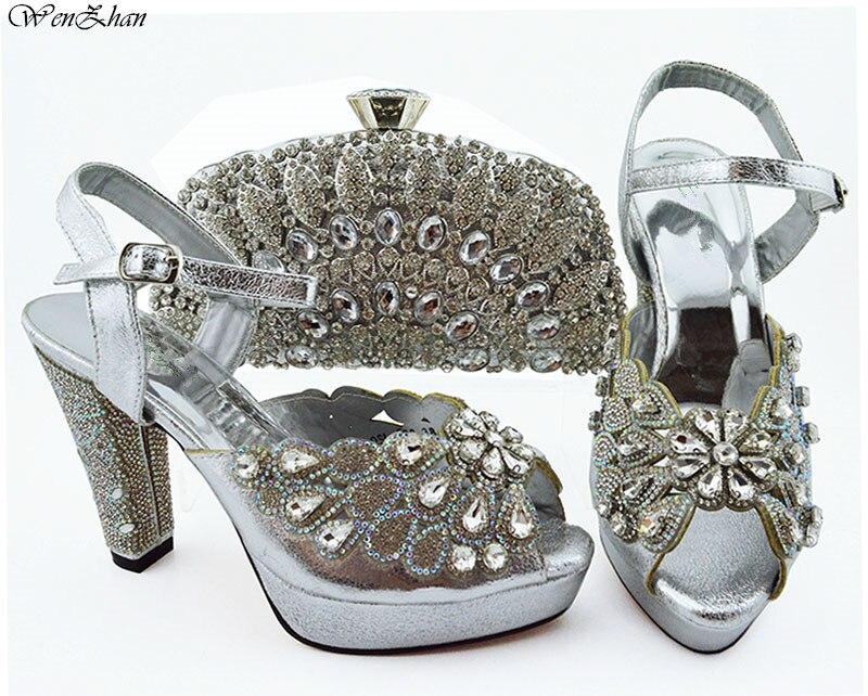 أحدث اللون الأحمر النيجيري أحذية و الحقائب لمطابقة مع الذهب الماس مطابقة الايطالية حذاء وحقيبة مجموعة 11.5 سنتيمتر WENZHAN B94 5-في أحذية نسائية من أحذية على  مجموعة 3