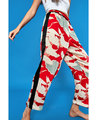 VogaIn 2016 Autumn Woman New Red Birds Printed Trousers With Black side Casual Pants