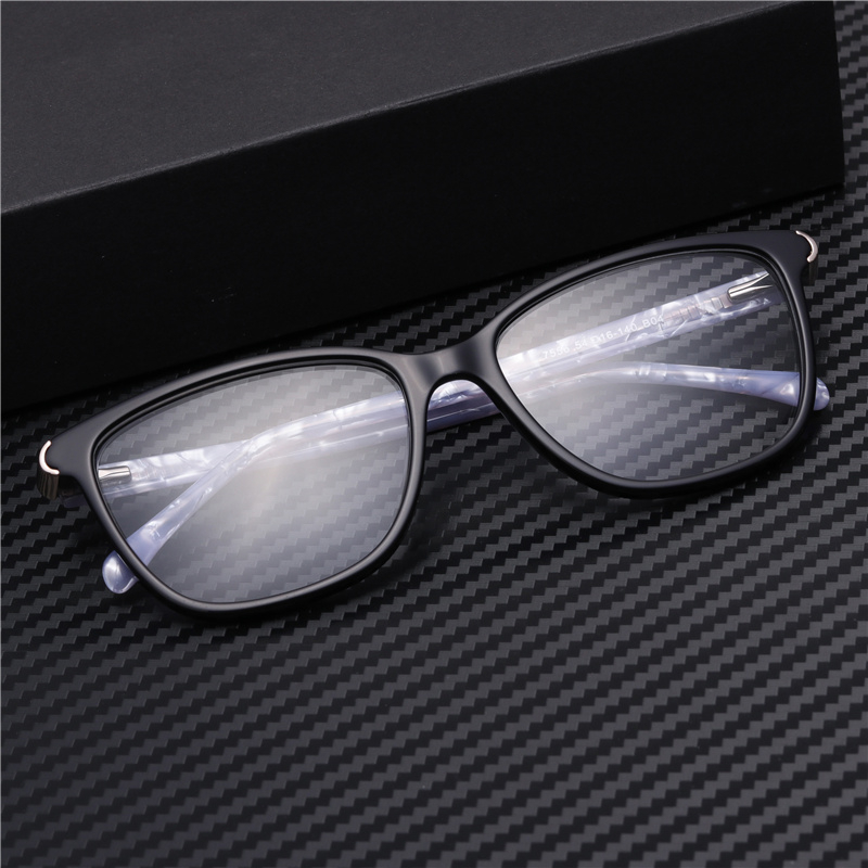 Acetate Spectacle Frame For Men Glasses Without Diopters Clear Retro Rivet Eyewear#GP7556