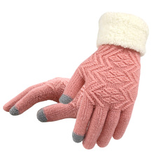 Women Knitted Gloves Touch Screen Female Thicken Mittens Winter Warm Gloves Ladies Full Finger Soft Stretch Knit Mittens Guantes cheap Gloves Mittens Wool Acrylic Fashion 2#GLV009 Wrist Solid Adult Free Size Daily