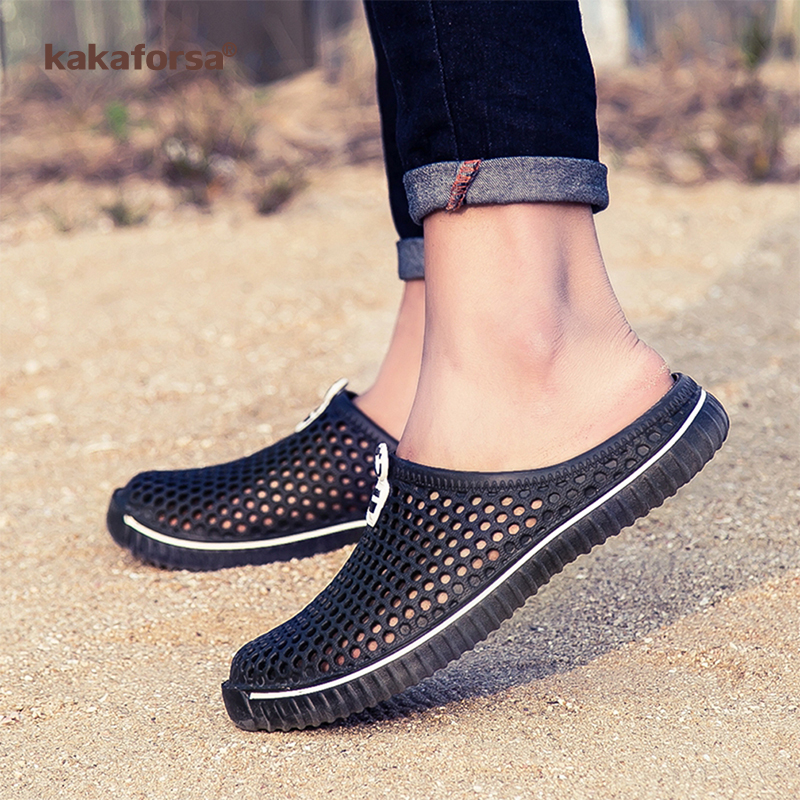 Kakaforsa <font><b>Summer</b></font> <font><b>Men</b></font> <font><b>Sandals</b></font> Hollow Out Mesh Breathable Slippers <font><b>Fashion</b></font> <font><b>Outdoor</b></font> Beach <font><b>Sandal</b></font> Couple Flip Flops Beach Slippers image