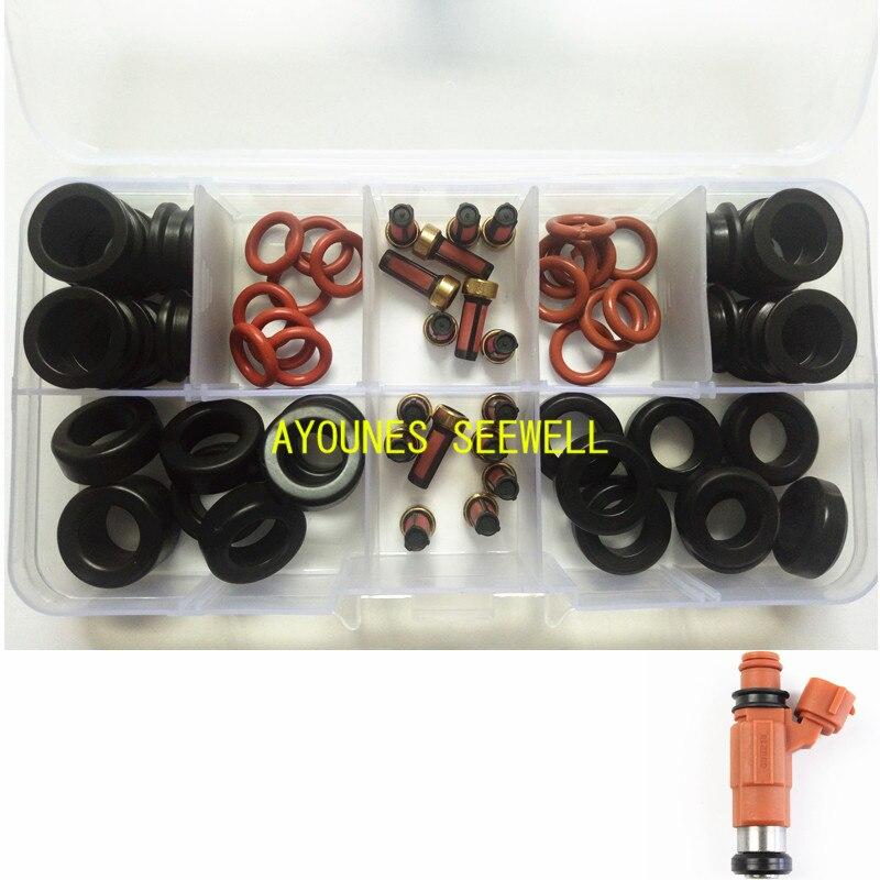 64 sztuk WTRYSKIWACZ PALIWA ZESTAW DO NAPRAWIANIA uszczelki silikonowym filtry przelotki do yamaha silnik zaburtowy 115HP INP-771 CDH210 cdh275 (AY-RK053-2)