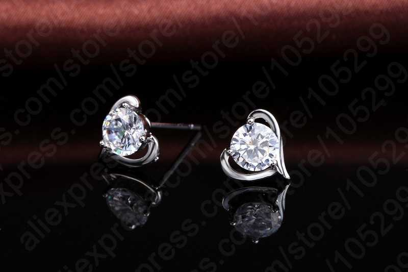 Wunderschöne Elegante 925 Sterling Silber Halskette Ohrringe Schmuck Sets Mit Klar Zirkonia Für Frau Dame Mädchen Geschenk