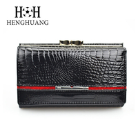 HH Women Luxury Brand Fashion Genuine Leather Patchwork Wallet Women Small Purse Female Short Design