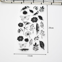 Flower Butterfly Leaves Silicone Clear Stamps for Card Making