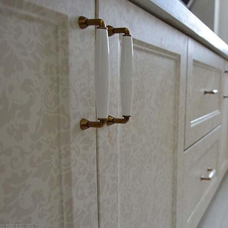 96MM kitchen Cabinet Handle White Ceramic Cupboard Pulls Bronze Zinc Alloy Dresser Drawer Wardrobe Funrinture handles pulls
