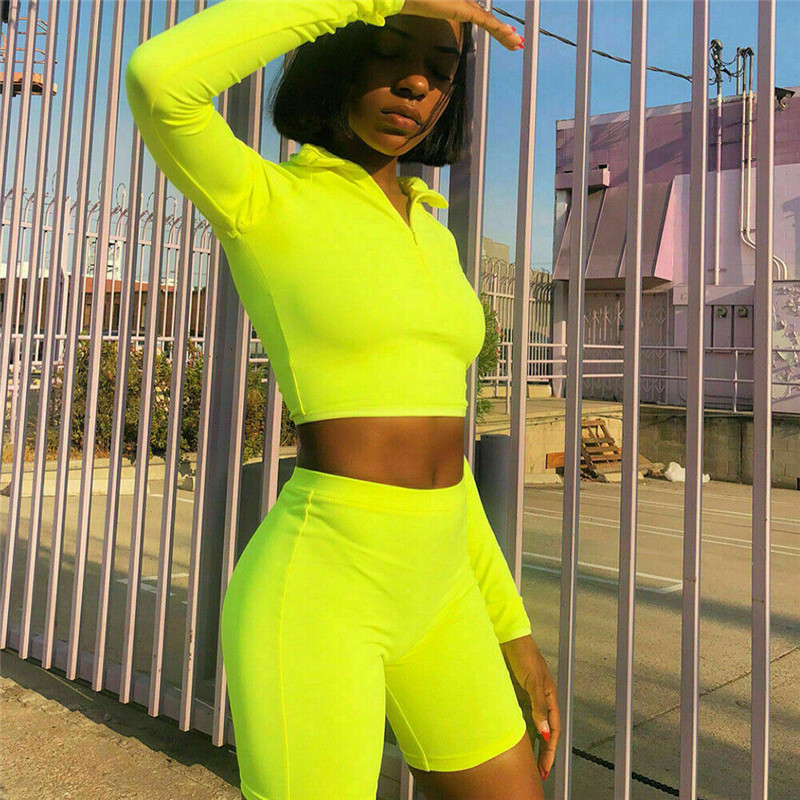 Summer Outfits For Women 2 Piece Outfits Tracksuit Neon Fashion Zipper Long Sleeve Crop Top Short Pants Sports Gym Clothing Set
