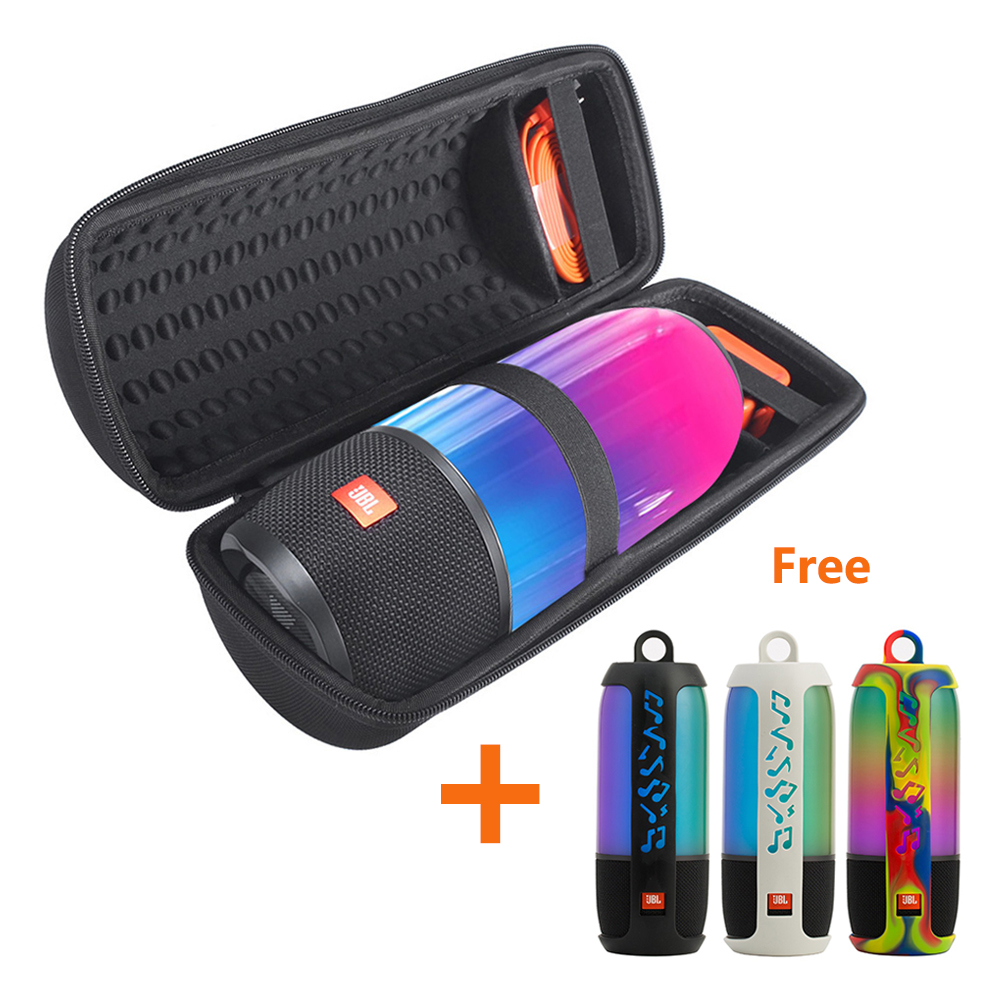 2 in 1 EVA Hard Carry Zipper Storage Box Bag + Soft Silicone Cover Case For JBL Pulse 3 Bluetooth Speaker for JBL Pulse3 Column jbl pulse 2
