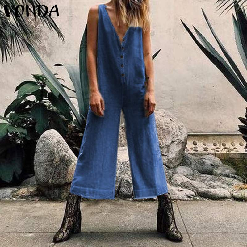 VONDA Rompers Women Jumpsuits Vintage Overalls Casual Ankle-Length Wide Leg Pants 2019 Summer Sleeveless Playsuits Plus Size